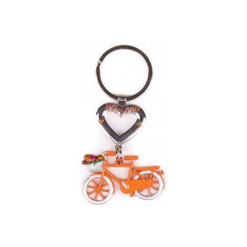 Sleutelhanger Holland oranje met hart
