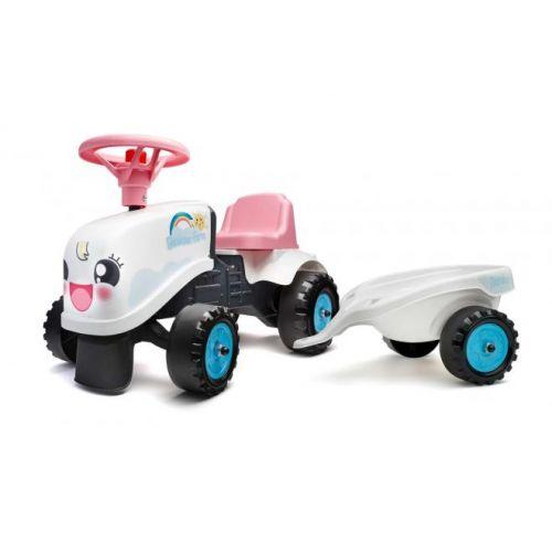 Falk Baby Rainbow Farm Ride On meisjes wit roze tractor