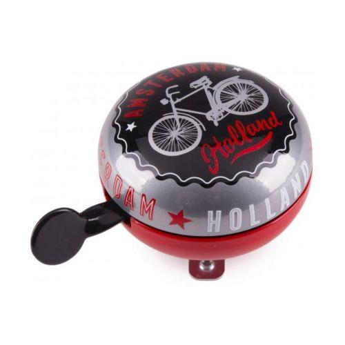 Amsterdam fietsbel Holland zwart rood 80 mm