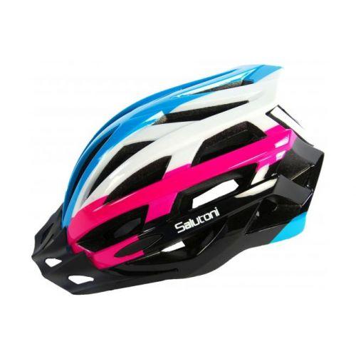Salutoni dames fietshelm blauw wit roze 54-58 cm